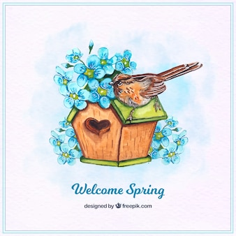 House background with a bird and blue flowers