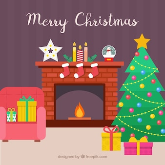 House background with fireplace and christmas decoration