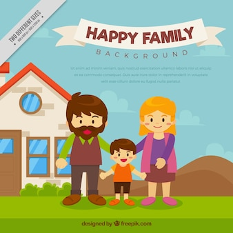 House background with happy family