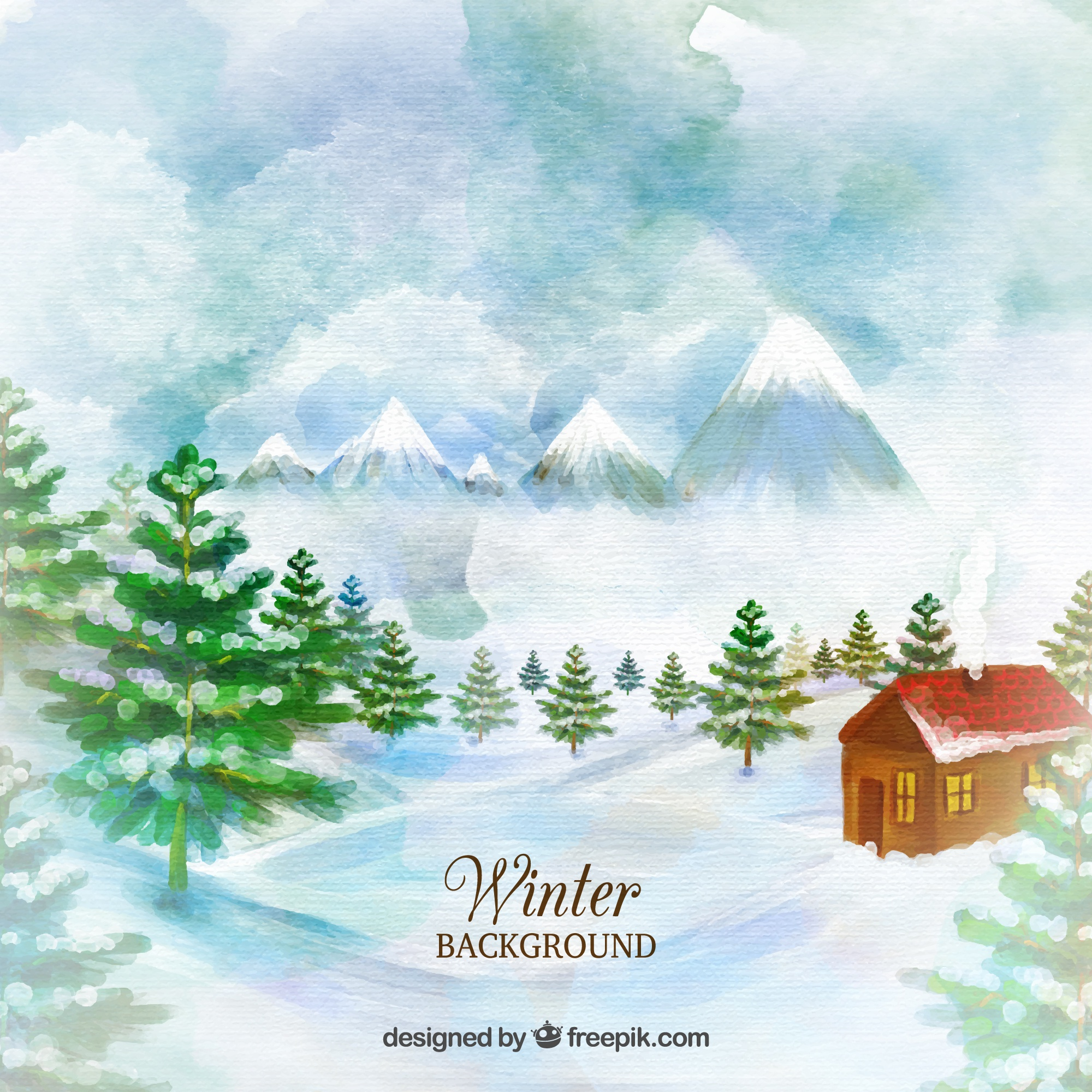 House on a countryside watercolor background