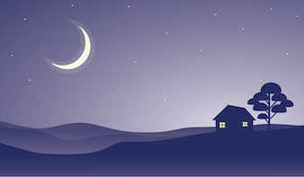 House on a Hill at Night View with Crescent Moon at Starry Sky