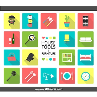 House tools and furniture icons