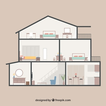 House with six rooms in flat design