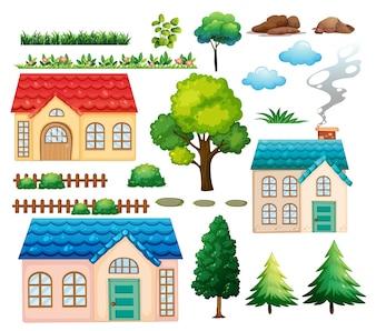 住宅や異なる植物のイラスト