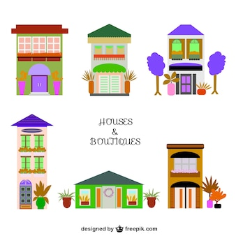 Houses and shops vector graphics