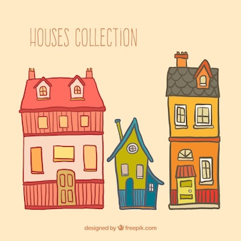 Houses collection in hand drawn style