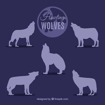 Howling wolves silhouettes collection