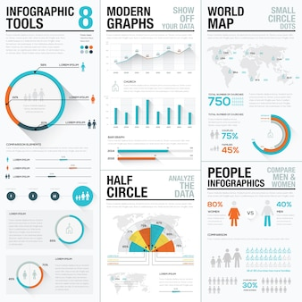 Human and people infographic vector elements in blue and red color
