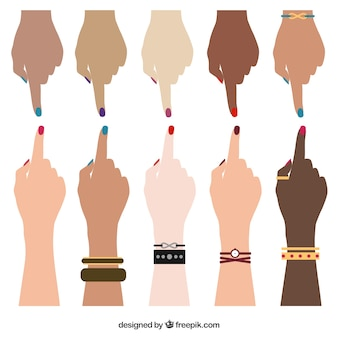Human hands of different races