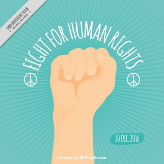 Human rights background with fist
