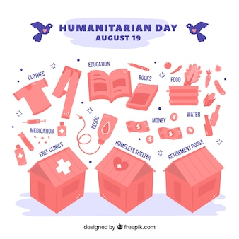 Humanitarian day background with items to donate