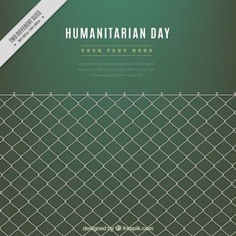 Humanitarian day green background with a grille
