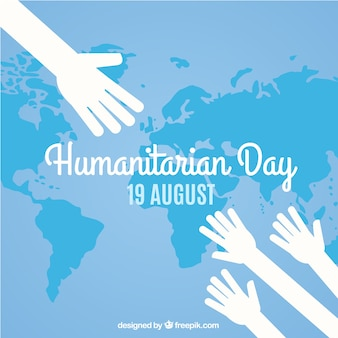 Humanitarian day map background with hands