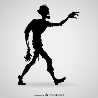 Hungry zombie silhouette