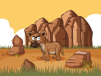 Hyena standing in the desert field