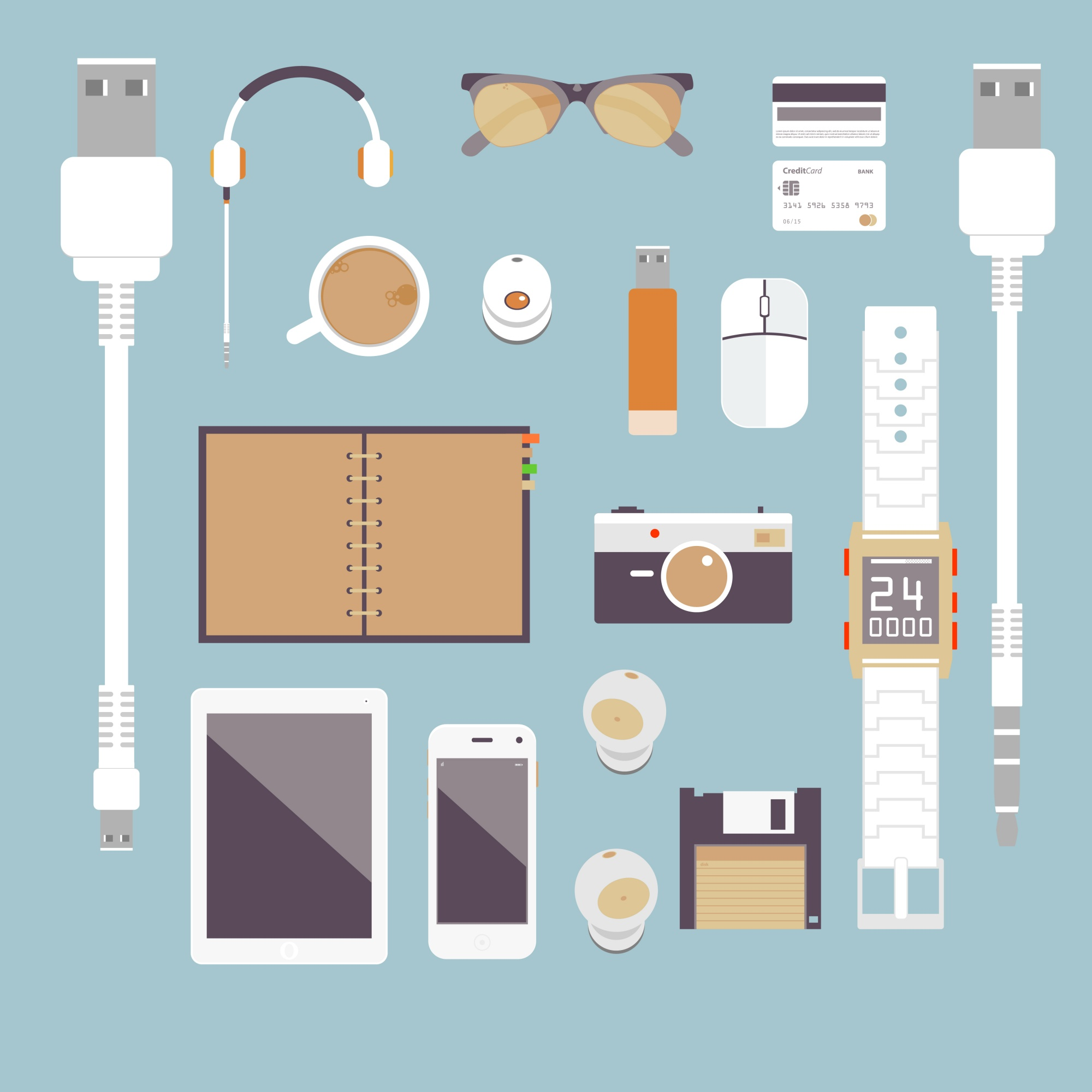 I'm fond of gadgets. Vector set Flat business