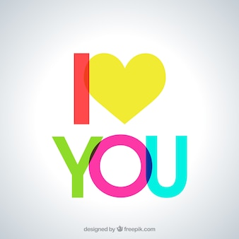 I love you in colorful lettering