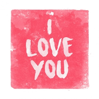 I love you text on watercolor background