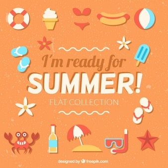 i'm ready for summer  phrase with flat summer elements