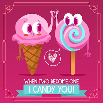 Ice cream and candy background design