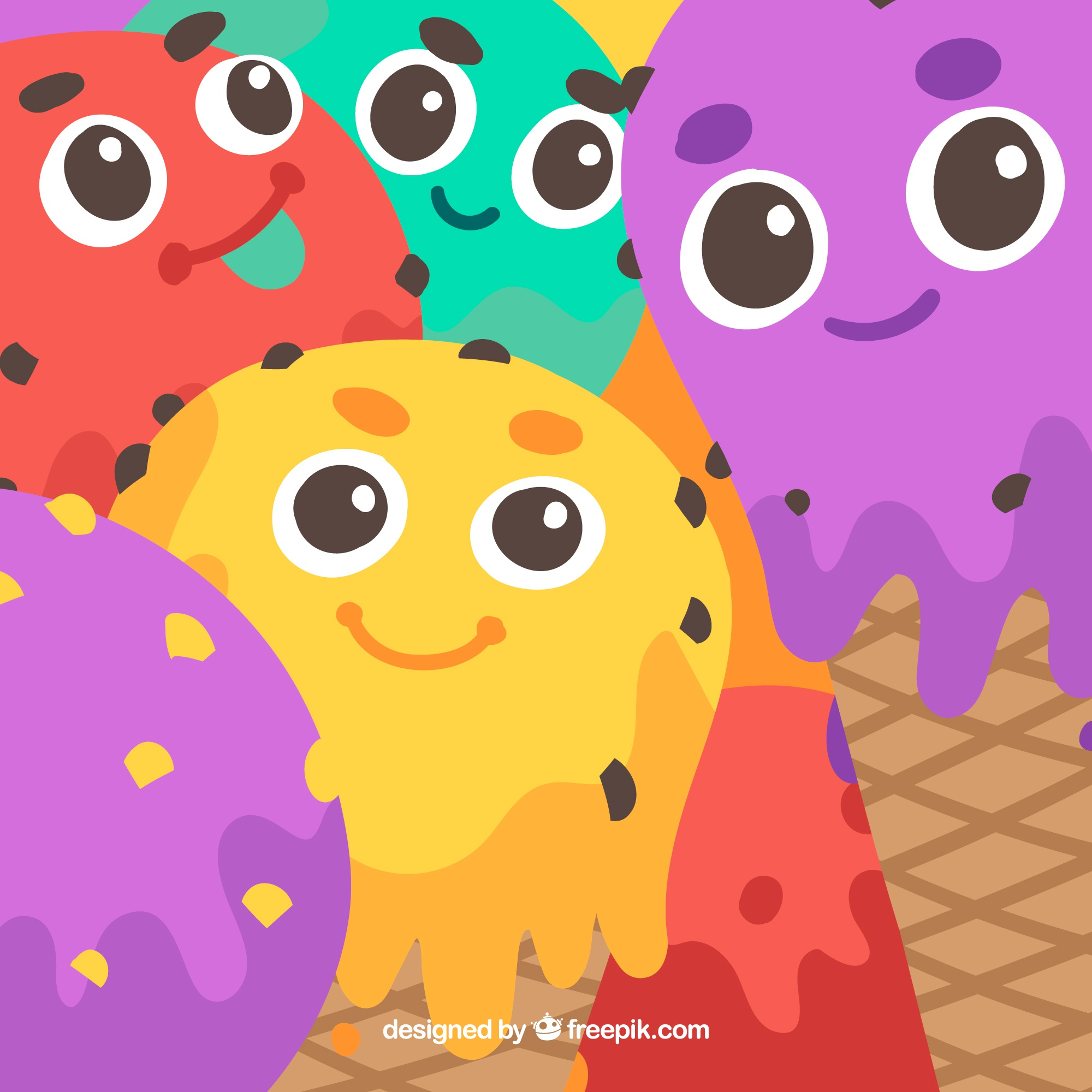 Ice cream characters background