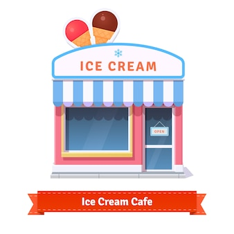 Ice cream restaurant and shop building facade