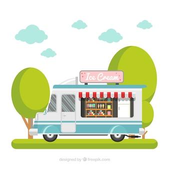 Ice cream truck background in flat design