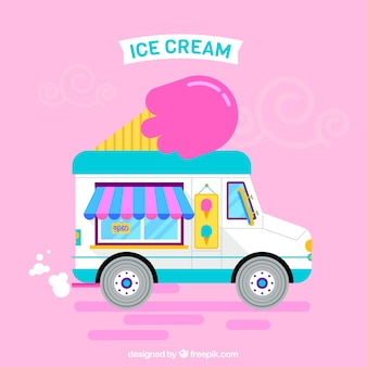 Ice cream truck with a pink background