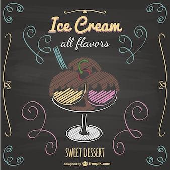 Ice cream vector blackboard design