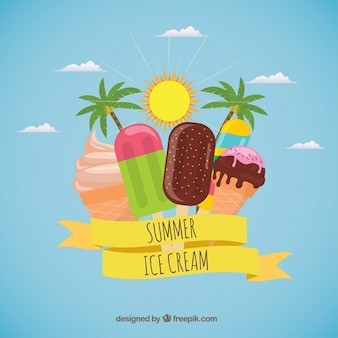 Ice-creams in summer background