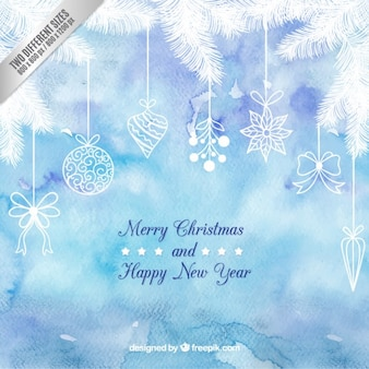 Iced christmas garland background in watercolor style