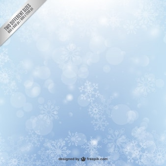 Iced snowflakes background with bokeh effect