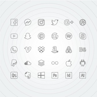 Icon outline for social networks
