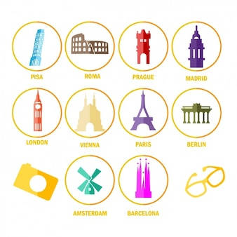 Icons about monuments from around the world