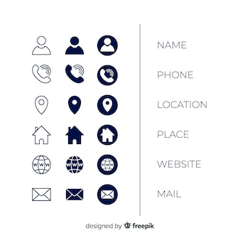 Icons collection for business cards