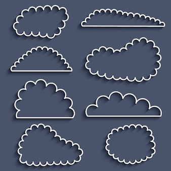 Icons collection of outlined clouds