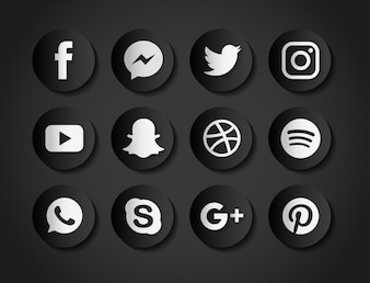 Icons for social networks on a black background