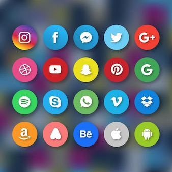 Icons for social networks on a blurred background