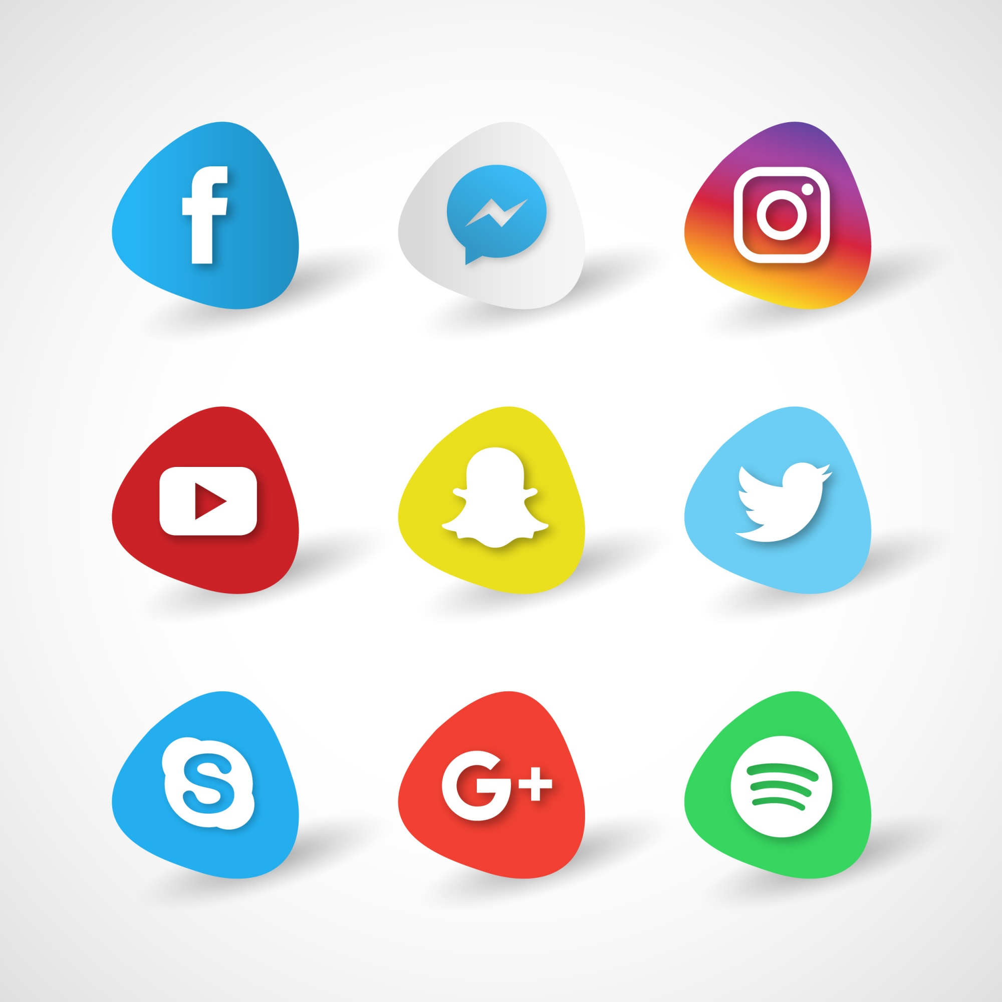 Icons for social networks on a white background