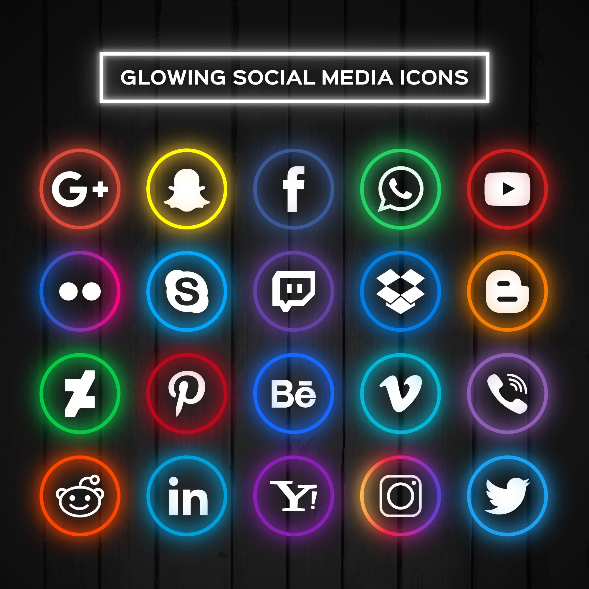 Icons for social networks with neon lights