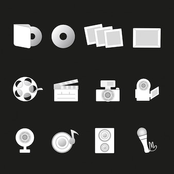 Icons on a black background