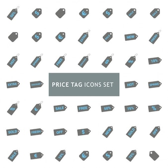 Icons set about price tag