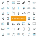 Icons set about technological elements