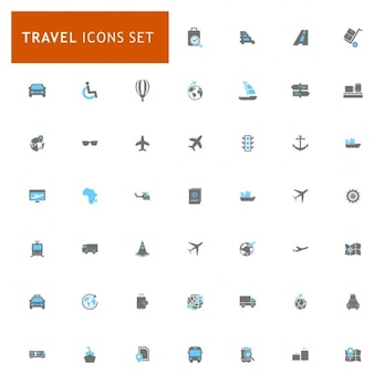 Icons set about travel