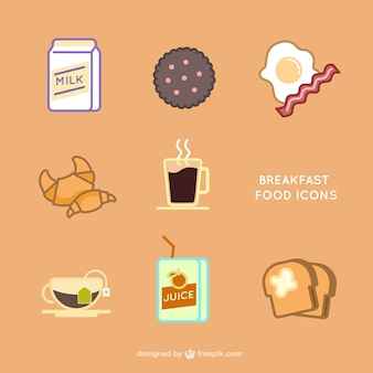 Icons set for breakfast