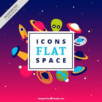 Icons space in flat design