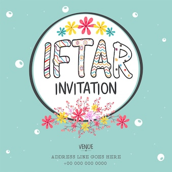 Iftar Invitation with colorful flowers decoration, Can be used as poster, banner or flyer design, Muslim Community Festival concept.