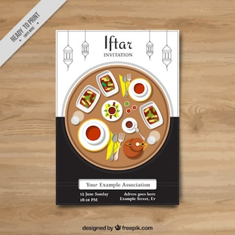 Iftar invitation with delicious food