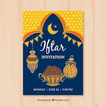 Iftar invitation with food and arabic lamps