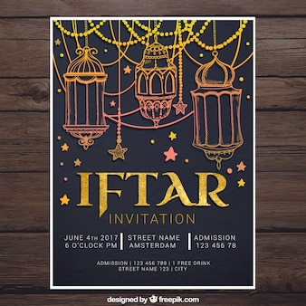 Iftar invitation with golden drawings